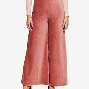 Free People Bambi Wide Leg Cord Pants Pink NWT S